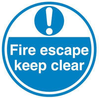 450mm Fire Escape keep clear Anti-Slip Floor Sign