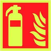 150x150mm Fire Extinguisher Symbol - Nite Glo Self Adhesive