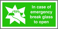 50x100mm In Case Of Emergency Break Glass To Open - Self Adhesive