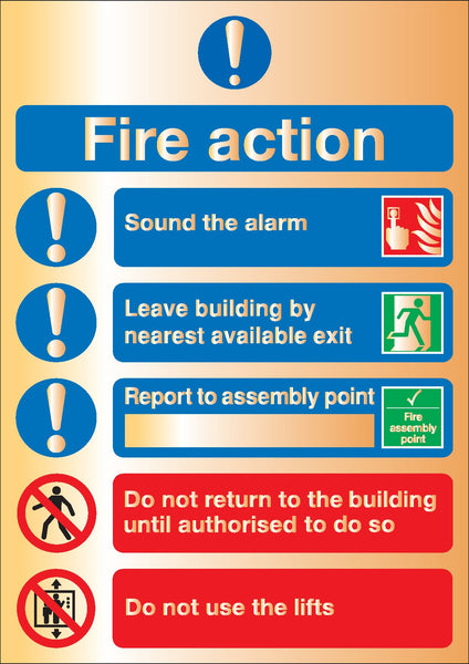 210x148mm Fire Action Sound the alarm - Gold Deluxe Metal Sign