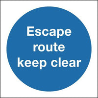 150x150mm Escape Route Keep Clear - Rigid