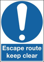 420x297mm Escape Route Keep Clear - Rigid