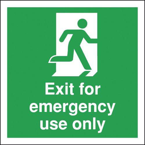 150x150mm Exit For Emergency Use Only - Rigid