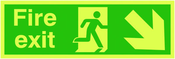 150x450mm Fire Exit Running Man Arrow Down Right - Xtra Glo Self Adhesive