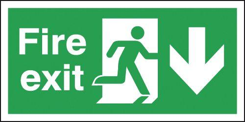 150x450mm Fire Exit Running Man Arrow Down - Self Adhesive