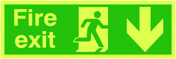 150x450mm Fire Exit Running Man Arrow Down - Xtra Glo Self Adhesive