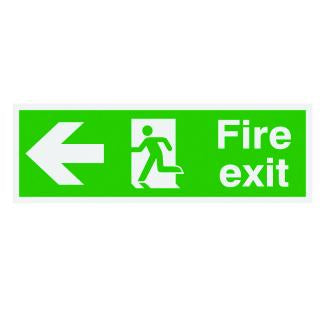 150x300mm Fire Exit Running Man Arrow Left - Xtra Glo Self Adhesive