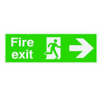 150x450mm Fire Exit Running Man Arrow Right - Nite Glo Rigid