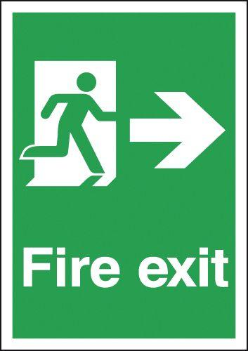 297x210mm Fire Exit Running Man Right - Rigid