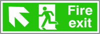 300x600mm Fire Exit Running Man Arrow Up Left - Rigid