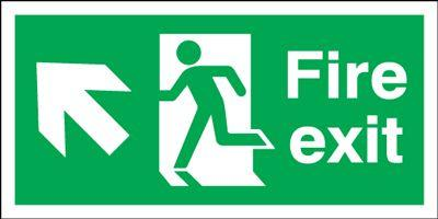 300x600mm Fire Exit Running Man Arrow Up Left - Self Adhesive