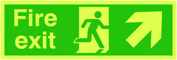 150x300mm Fire Exit Running Man Arrow Up Right - Xtra Glo Self Adhesive