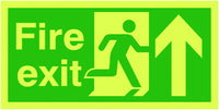 150x300mm Fire Exit Running Man Arrow Up - Nite Glo Rigid