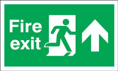 300x600mm Fire Exit Running Man Arrow Up - Self Adhesive