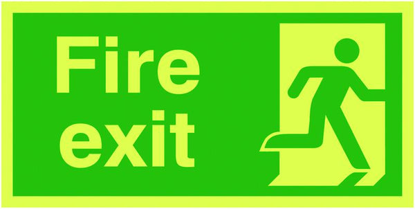 300x600mm Fire Exit Running Man Right - Nite Glo Self Adhesive
