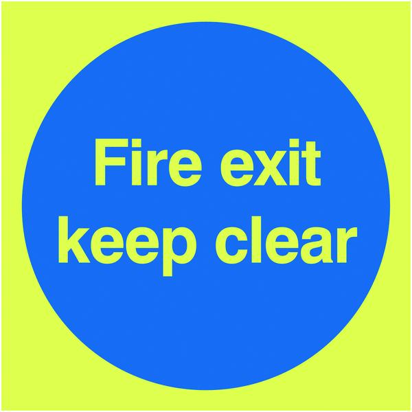 150x150mm Fire Exit Keep Clear - Nite Glo Self Adhesive