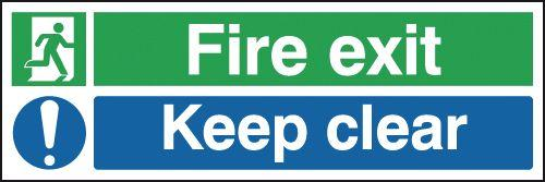 150x300mm Fire Exit Keep Clear - Rigid