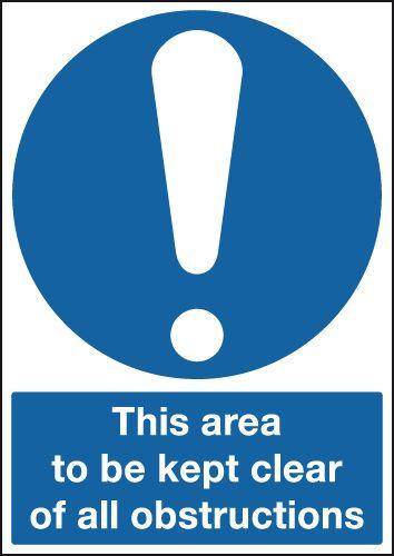 420x297mm This Area To Be Kept Clear Of All Obstructions - Self Adhesive