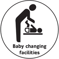 100mm dia Baby changing facilities - Black on white