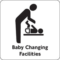 100x100mm Baby Changing Facilities - Black on silver
