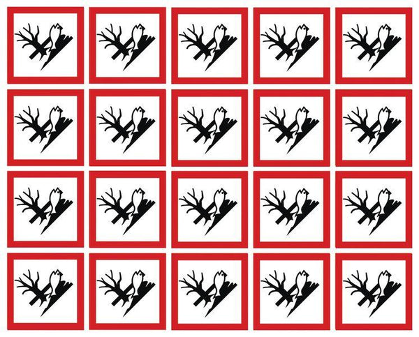 100x100mm Dangerous for the Environment GHS Symbols on a sheet