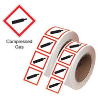 21x21mm Compressed Gas GHS Symbols on a roll