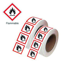 21x21mm Flammable GHS Symbols on a roll