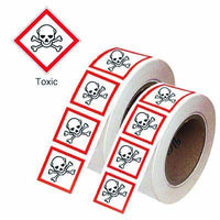 50x50mm Toxic GHS Symbols on a roll