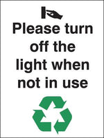 100x75mm Please turn off the lights when not in use Self Adhesive
