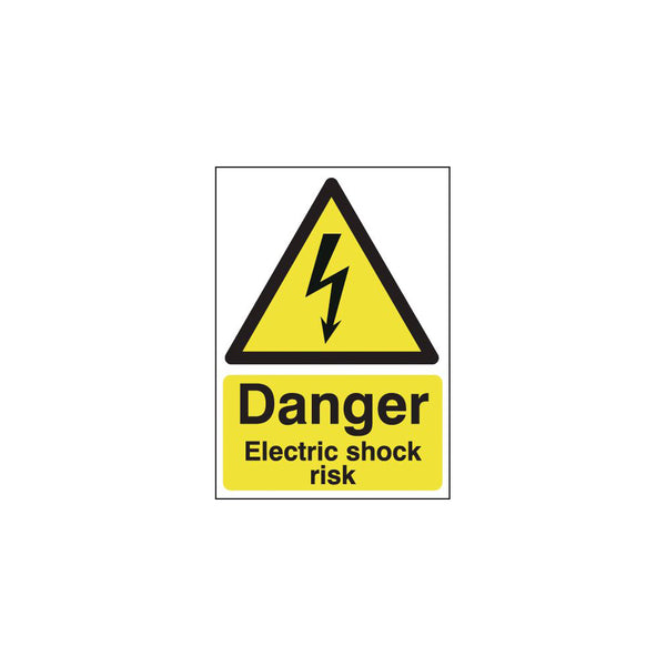 Danger Electric Shock Risk Sign - 210mm x 148mm (A5)