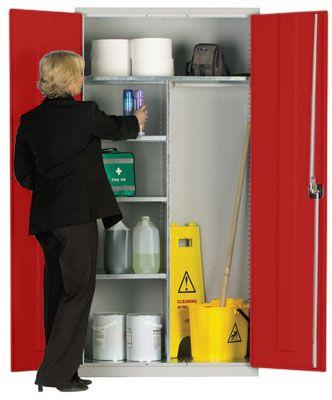 Workplace Storage Cupboard - Hanging Rail - 2 Doors - Red - 1830 x 915 x 457mm (HxWxD)