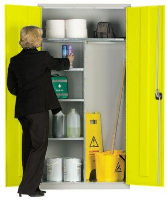 Workplace Storage Cupboard - Hanging Rail - 2 Doors - Yellow - 1830 x 915 x 457mm (HxWxD)