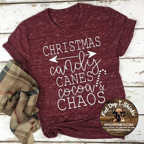 Christmas Candy Canes Cocoa and Chaos-T-Shirts/Crew Fleece