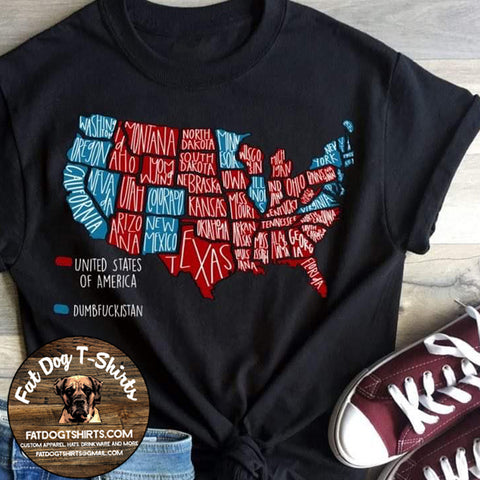 Red and Blue States-T-Shirt-Hoodie-Crew Fleece