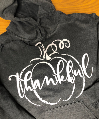 Thankful Hoodie-Distressed Charcoal Heather