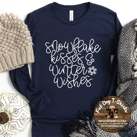 Snowflake Kisses & Winter Wishes-Long Sleeve T-Shirts/Crew Sweatshirts