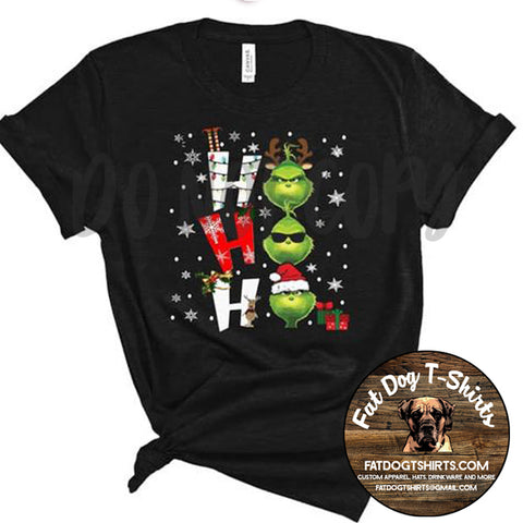HO HO HO GrinchMood-T-Shirts/Long Sleeve T-Shirts/Crew Sweatshirts