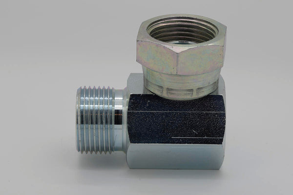 BSPP Male for Bonded Seal x BSPP Swivel Female 90° Compact Elbow 60° Cone