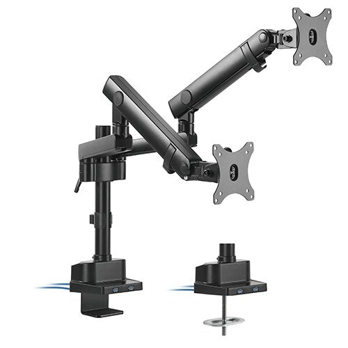 Brateck Dual Monitor Aluminium Slim Pole Held Mecanical Spring Monitor Arm Fit Most 17''-32'' Monitors Front
