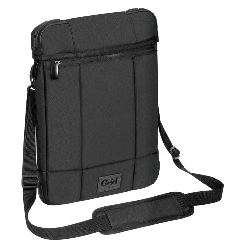 Targus 12' Grid High Impact Vertical Slipcase/Laptop/ Notebook Bag with Extreme Urban Protection & Weather Resistant- Black Front