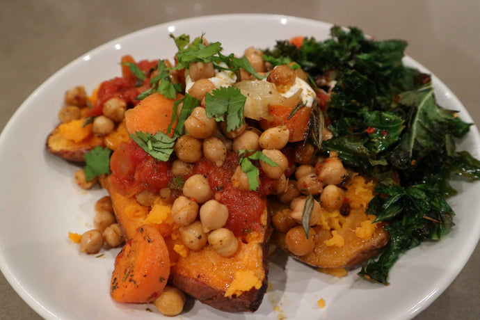 Chickpea topped sweet potato and krispy kale