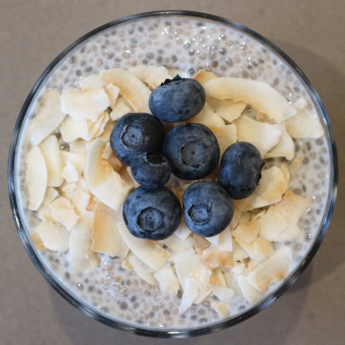 Roasted Coconut & Blueberry Chia pudding