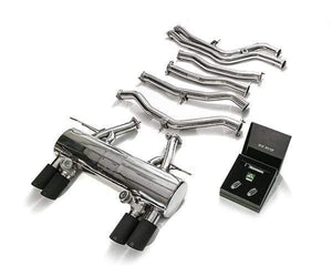 ARMYTRIX Stainless Steel Valvetronic Catback Exhaust System Quad Matte Black Tips BMW M3 | M4 F8x 15+