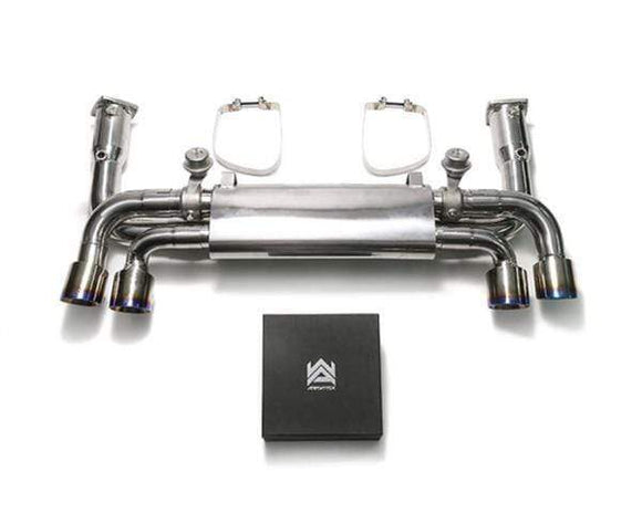 ARMYTRIX Stainless Steel Sport Race Valvetronic Exhaust System Quad Blue Coated Tips Porsche 991.2 Carrera 17-18