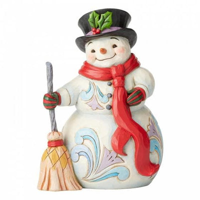 Swept Up In The Season ,Snowman with Broom and Long Scarf - R. Mc Cullagh Jewellers