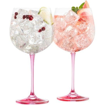 Galway Crystal GIN & TONIC GLASSES - Pink - R. Mc Cullagh Jewellers