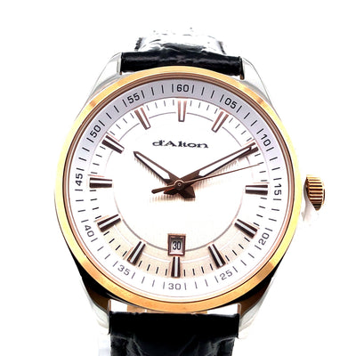 D'alton Gents watch rose gold case black strap - R. Mc Cullagh Jewellers
