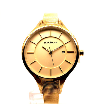 D'alton ladies watch gold plated case and gold plated mesh strap - R. Mc Cullagh Jewellers