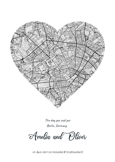 Poster - City Map in Different Shapes - R. Mc Cullagh Jewellers