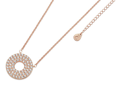 Tipperary Crystal PAVE TRIPLE BAND MOON PENDANT RG - R. Mc Cullagh Jewellers